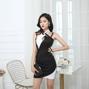 黒と白のカラーマッチングドレス· サイドシースルードレス【YN1057】