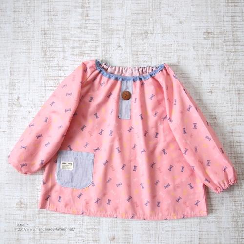 【110】スモック*リボンのちょうちょ ピンク 入園準備/La fleur