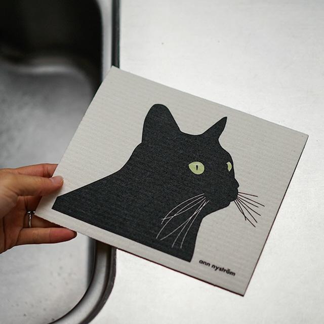 【ann nyström design】黒猫の スポンジワイプ