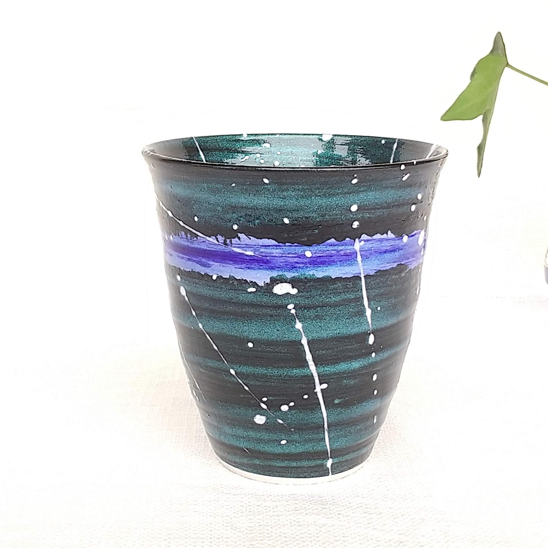 秀島窯作 光彩釉 銀河 焼酎カップ (ブルー)