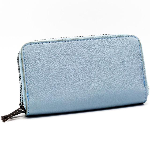 財布 イタリア製 長財布 ダブルファスナー 水色