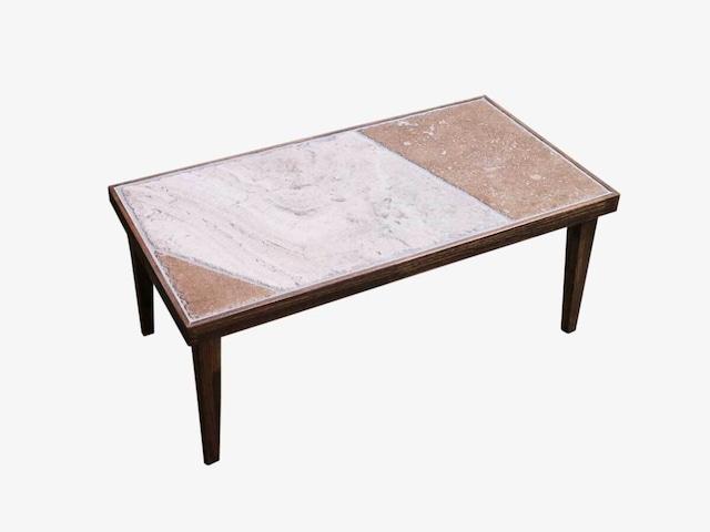 石とタモ材のパッチワークローテーブル 一点物