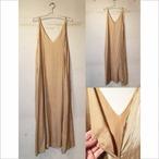【hippiness】cupro Vneck camisole one-piece(beige)/ 【ヒッピネス】キュプラ ブイネック キャミソール ワンピース(ベージュ)