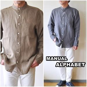 MANUALALPHABET  マニュアルアルファベット 麻 リネンシャツ メンズ バンドカラーシャツ BASIC-BG-011