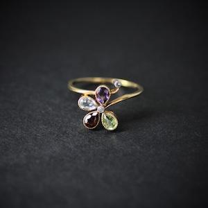 Multi-color Stone & Diamond Flower Ring  マルチカラーストーン&ダイヤモンド フラワーリング