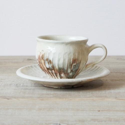 鉄散しのぎコーヒーカップ&ソーサー 古谷製陶所 信楽焼