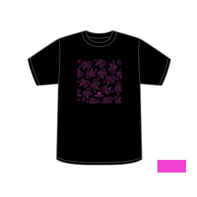 ©️くまみね ネコリパブリック広島オリジナルTシャツ<黒×黒>