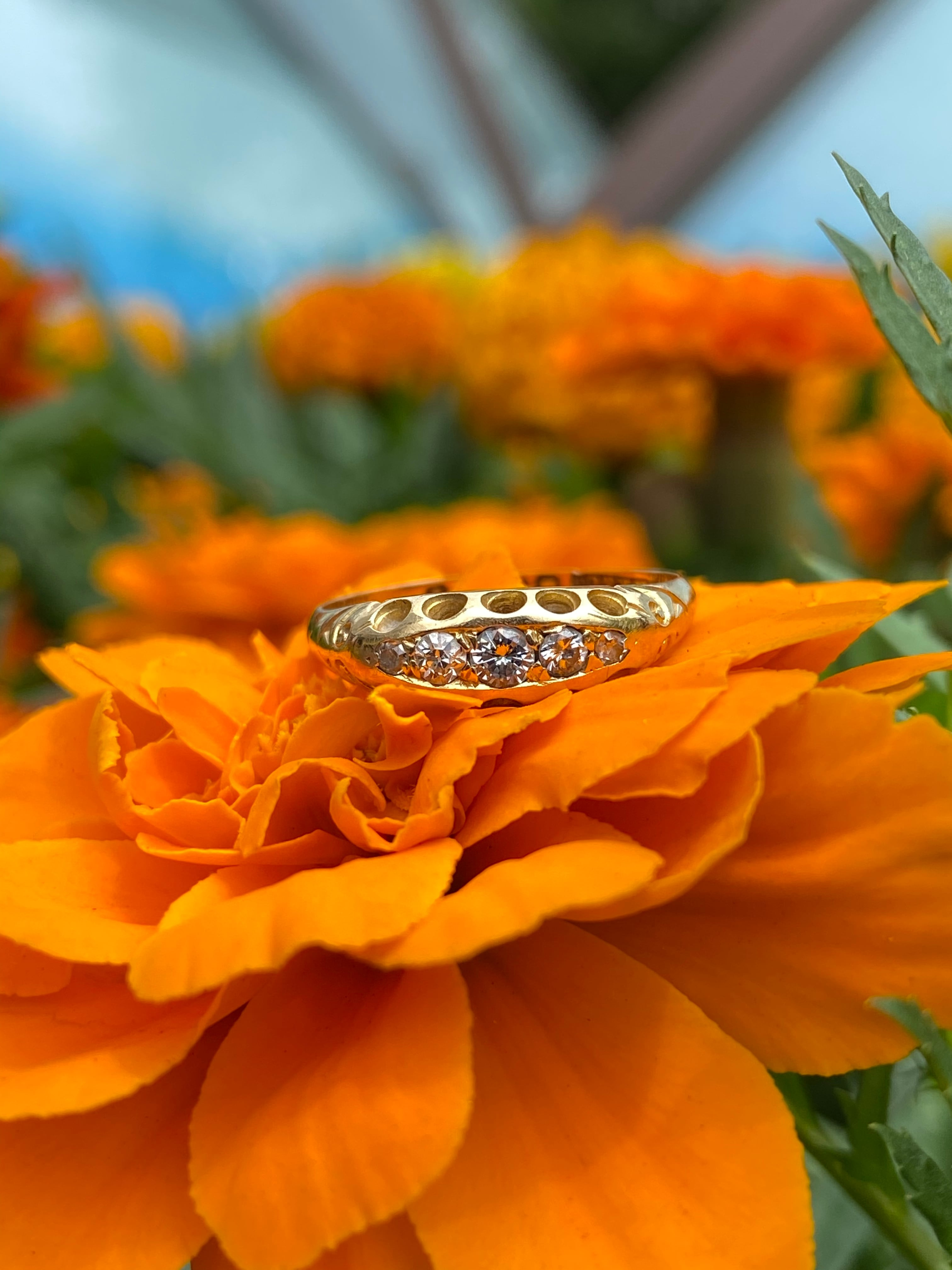 イギリス1908年製アンティークリングK18 指輪 ダイヤモンド