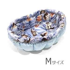 ふーじこちゃんママ手作り ぽんぽんベッド (ライトブルー・デニム風猫柄)Mサイズ 【PB7-082M】