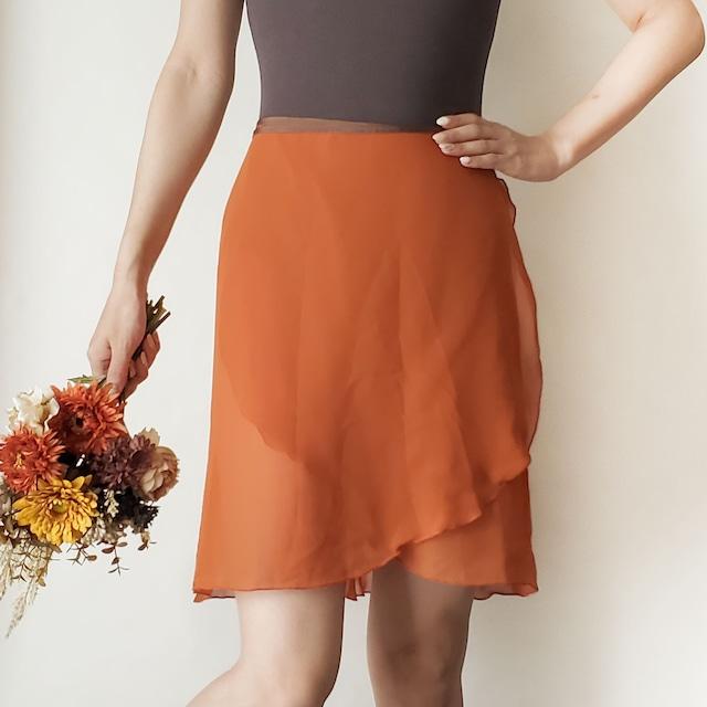 LONG wrap skirt【テラコッタ×ブラウン】