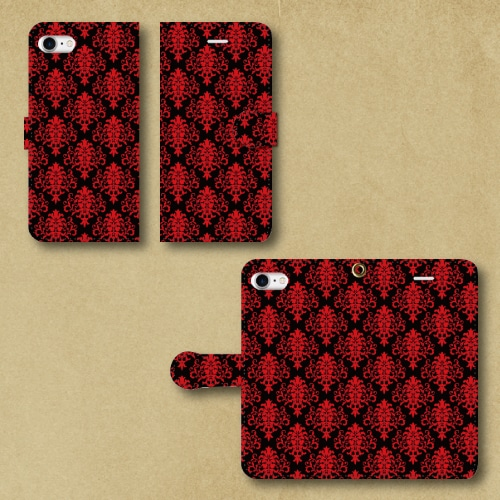 ダマスク柄(赤/黒)/iPhoneスマホケース(手帳型ケース)