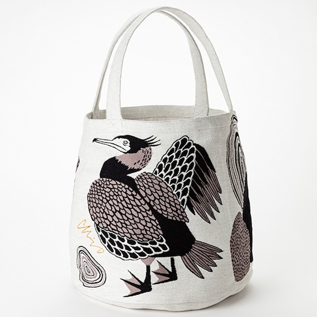 《鳥/鵜》 トートバッグ 川ほとりのニンマリのウたち morita MiW 綿100% 川鵜 マザーズバッグ