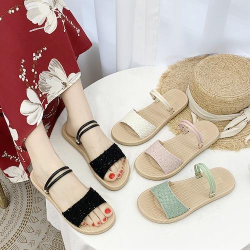 2WAY ストラップ サンダル フラットサンダル フラットボトム 韓国ファッション レディース ぺたんこサンダル 痛くない かわいい 靴 歩きやすい 617426721168