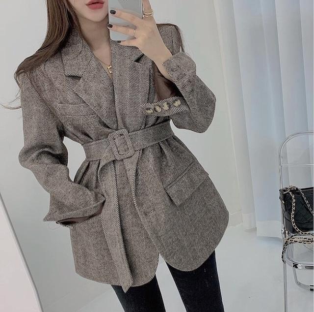 simple belt coat 2color