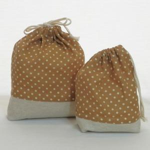 巾着袋/ドット柄の巾着2点セット (5-194)