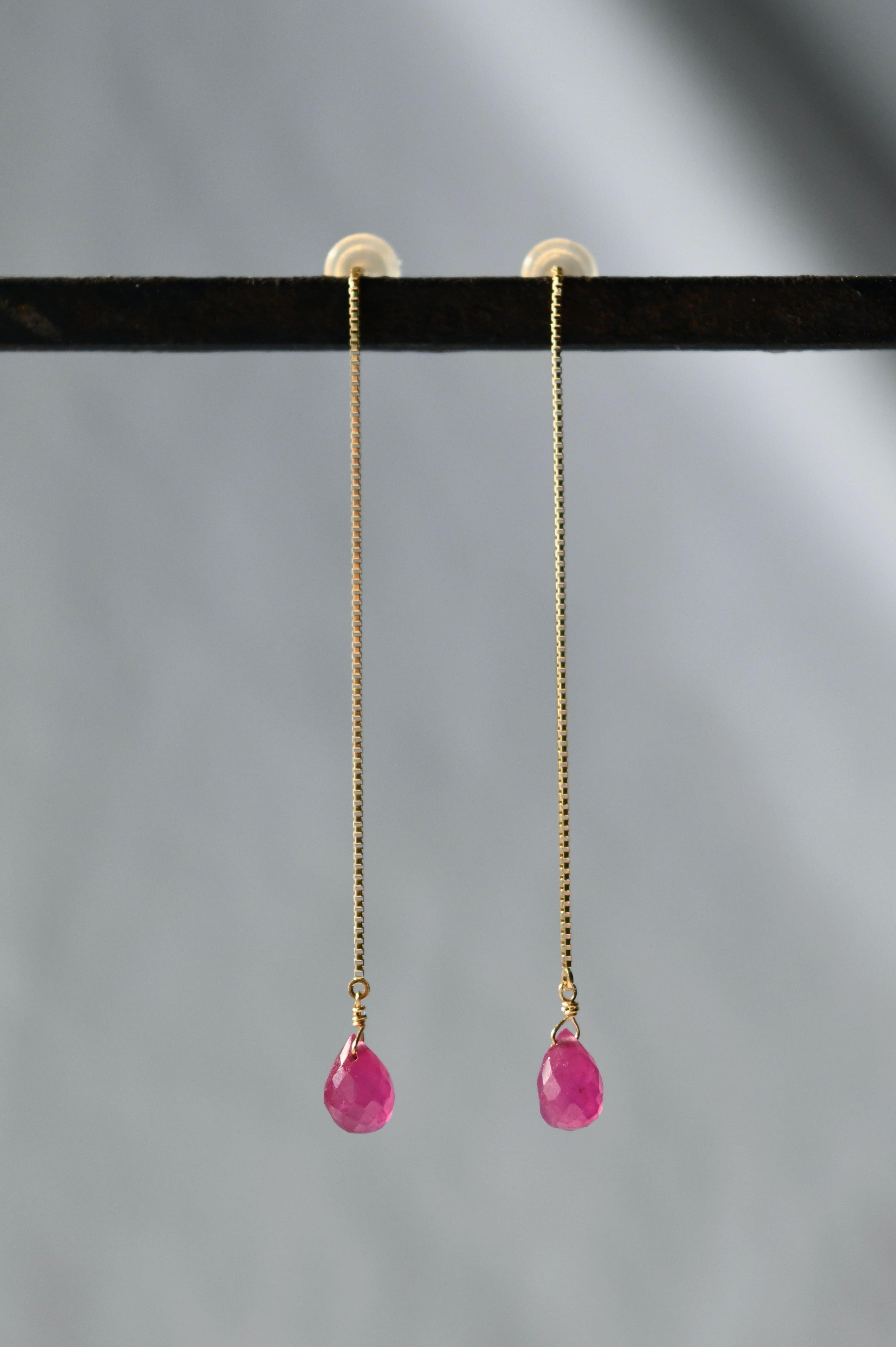 K18 Ruby Long Chain Earrings 18金ルビーロングチェーンピアス