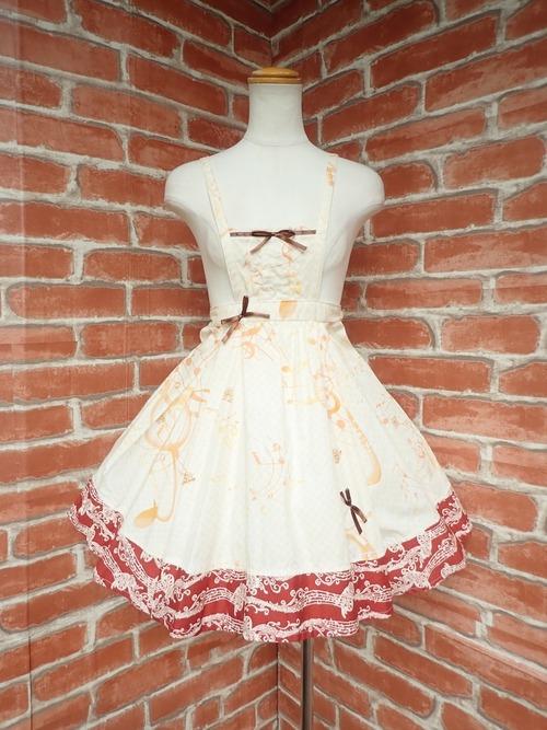 音符とリボンのクラシカルエプロン風ジャンパースカート