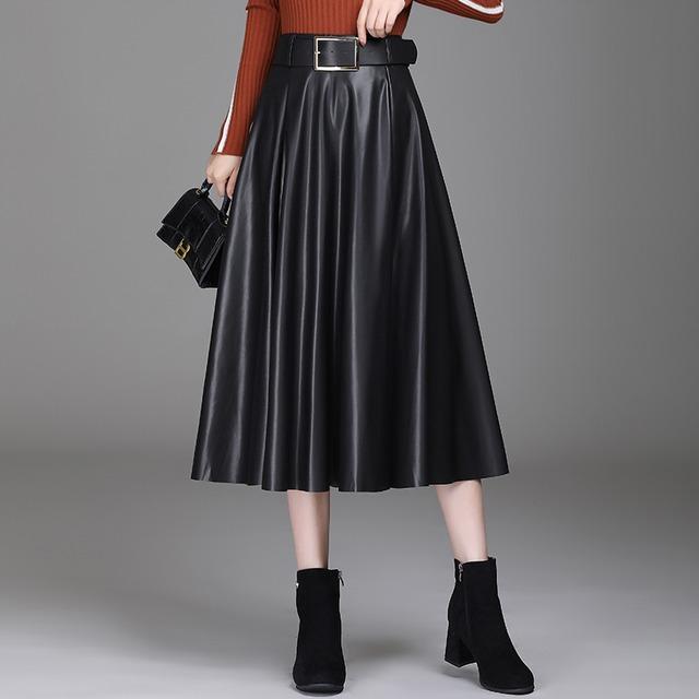 ベルト付き フェイクレザーAラインスカート(5color) D210902