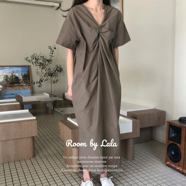 再入荷待ち Twisted dress / ワンピース (brown) LE202196