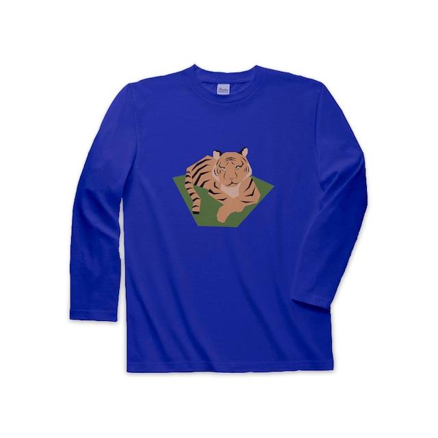 動物Tシャツ(長袖)-くつろぐトラ(ロイヤルブルー)
