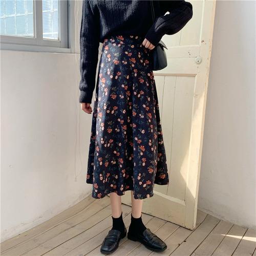 2色/花柄コーデュロイスカート ・19666