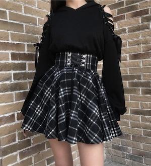 【お取り寄せ】チェック ハイウエスト スカート 2色