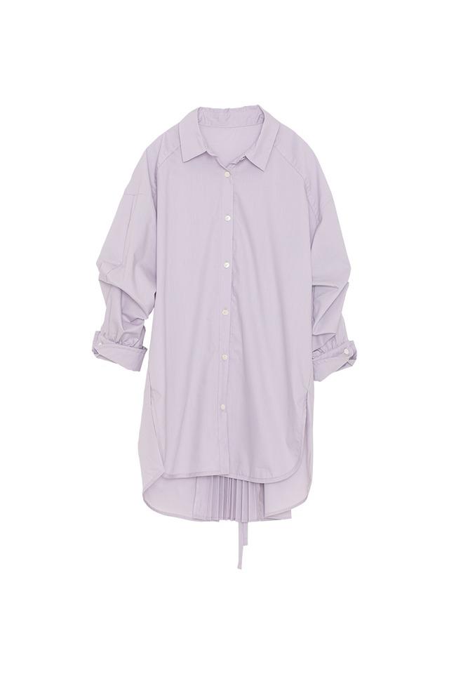 バックスリットプリーツシャツ< lilac >