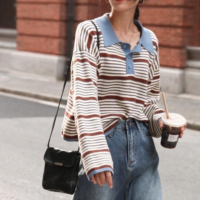Polo collar pullover(ポロカラープルオーバー)b-497