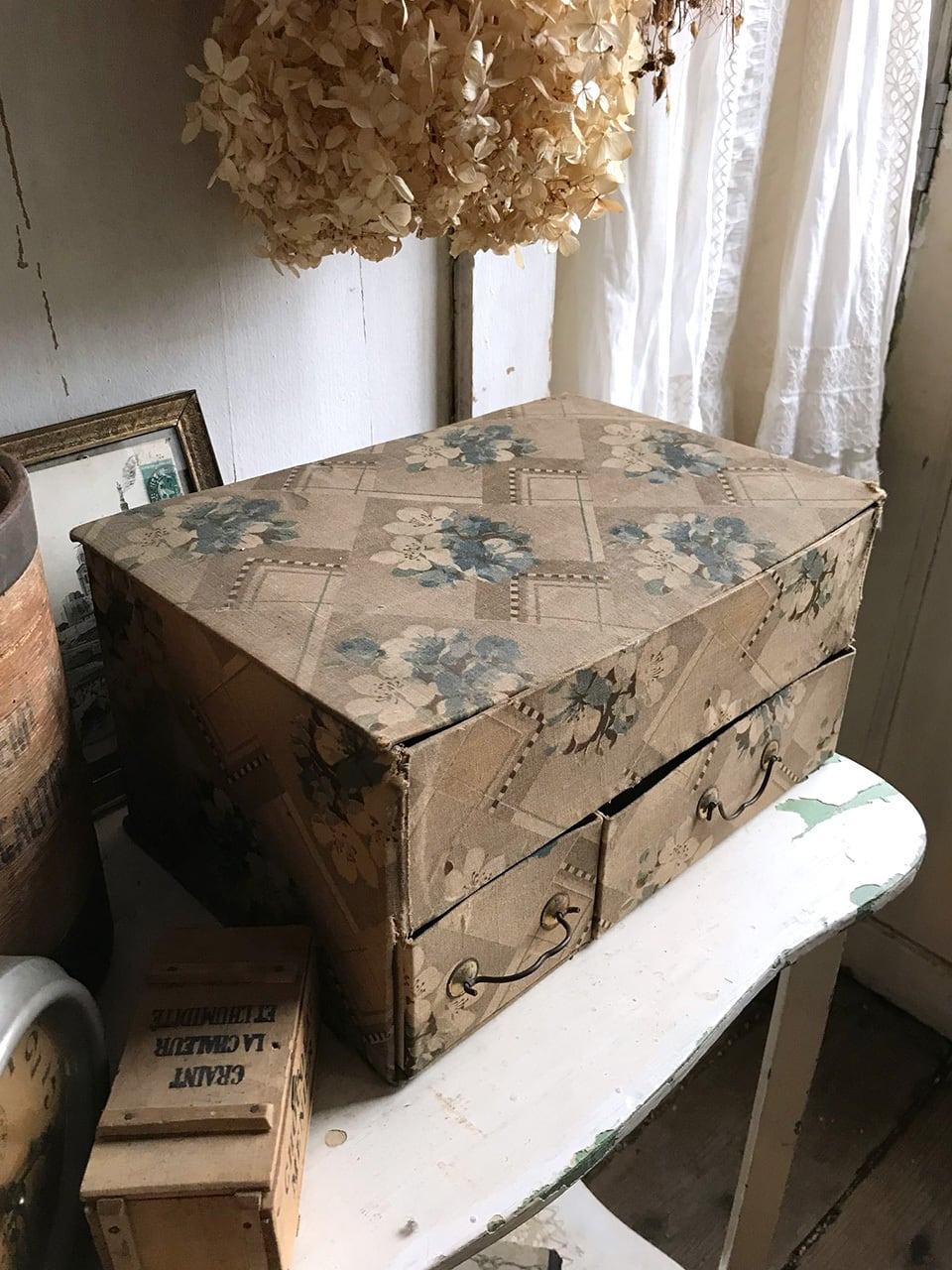カルトナージュ ソーイングボックス 花柄ブルー