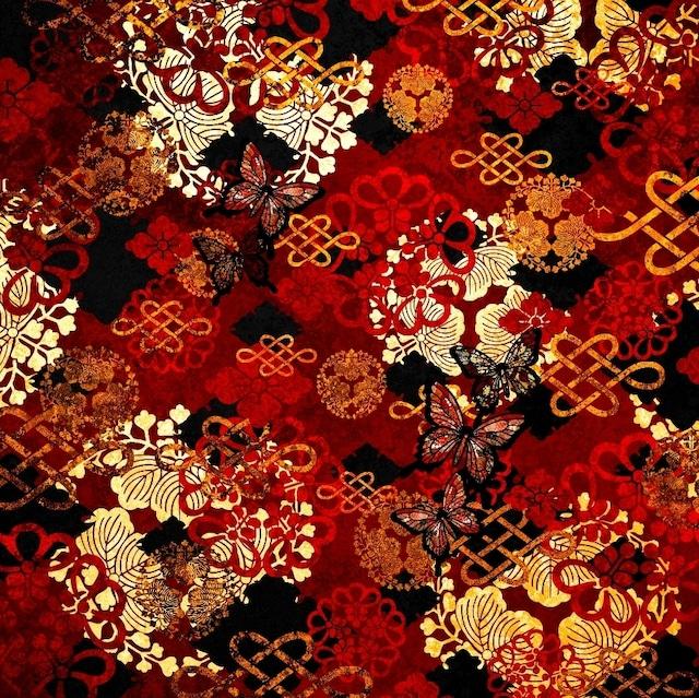 家紋装飾赤 ロングヨガレギンス