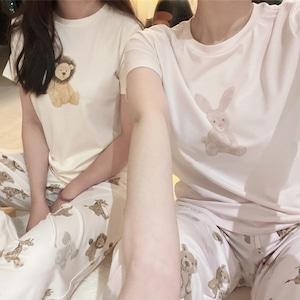 【コットン綿】アニマル半袖×ロングパンツルームウェア k