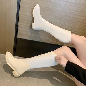 【シューズ】ファッションポインテッドトゥ人気合わせやすいPUミドルヒールロング丈ブーツ51323895