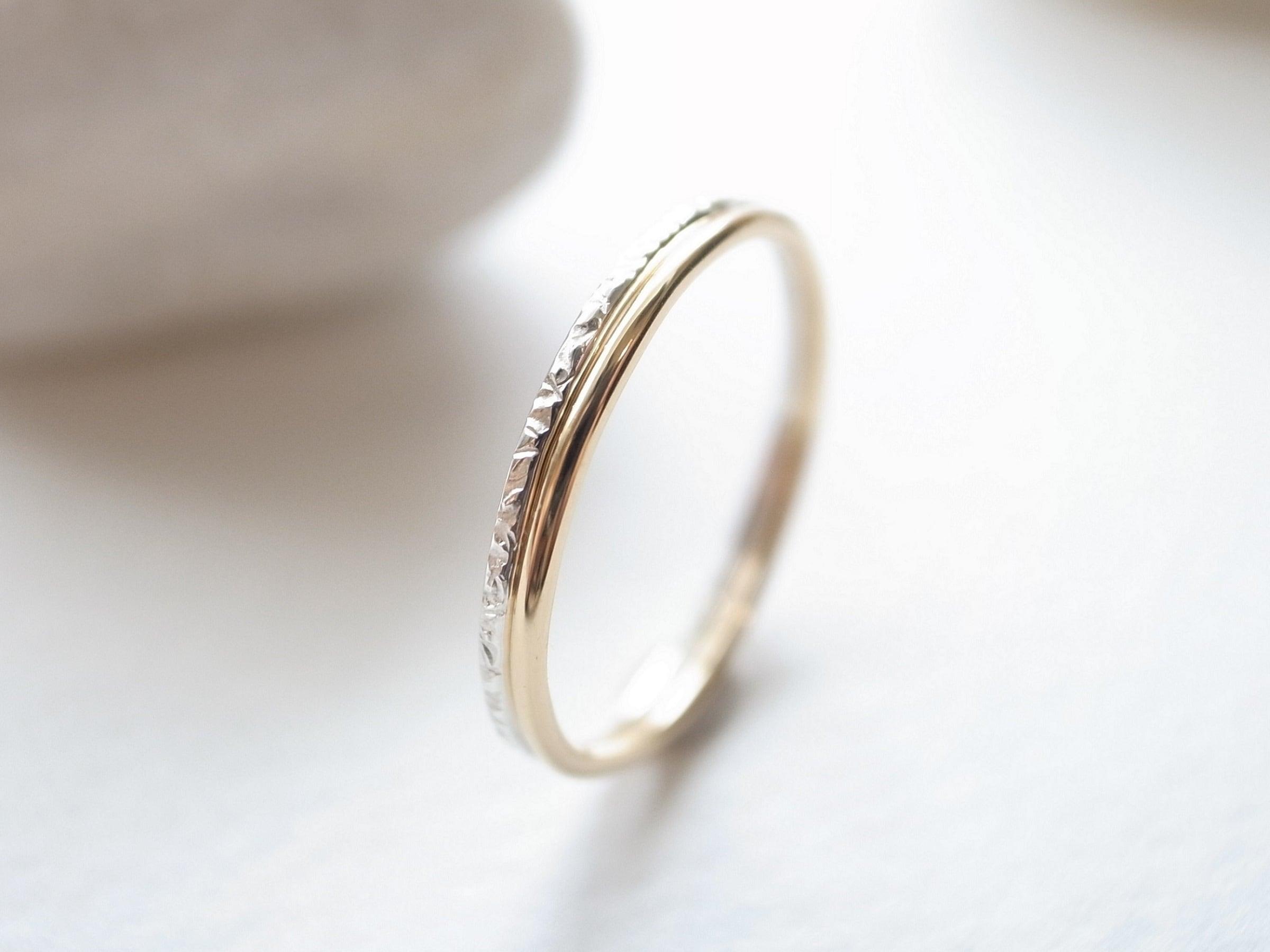 【set ring】K18YG/plain & silver950/stardust