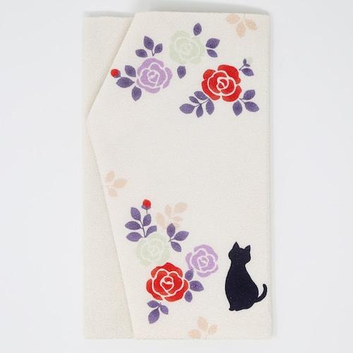 猫ふくさ(猫とバラ)