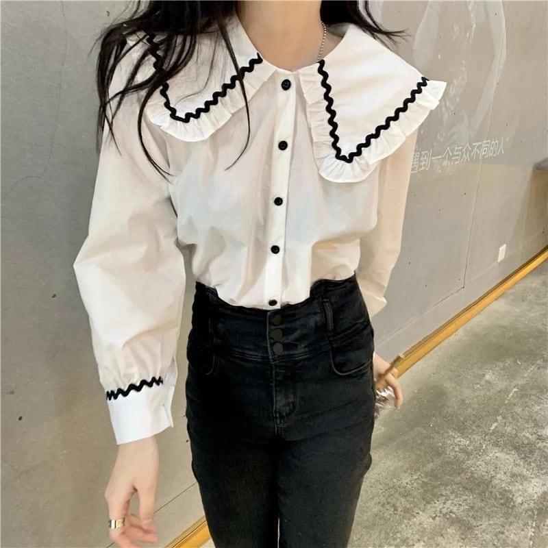 wave line blouse[2103-37]