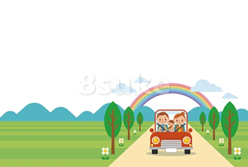 イラスト素材:ドライブを楽しむ家族/春・夏・ヨコ・白バック(ベクター・JPG)
