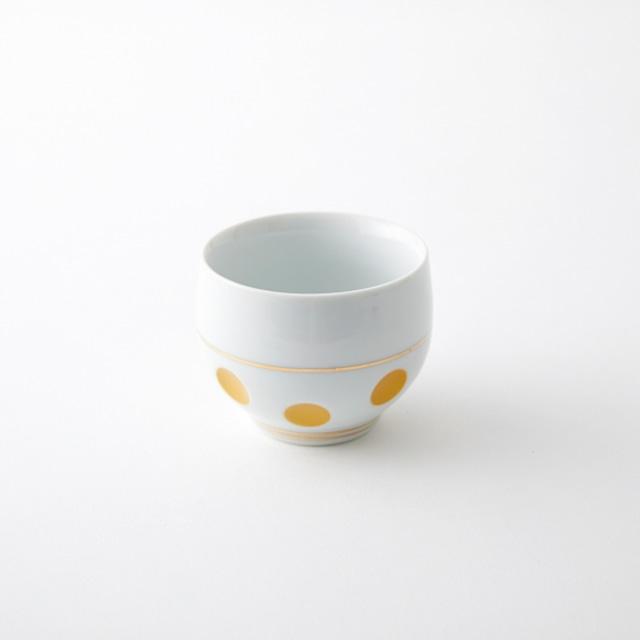 金ライン彫水玉 煎茶碗