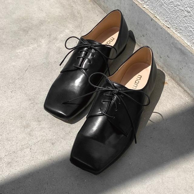 【一部難あり】スクエアトゥ オックスフォード シューズ:ブラック 24.5cm(OT1446)