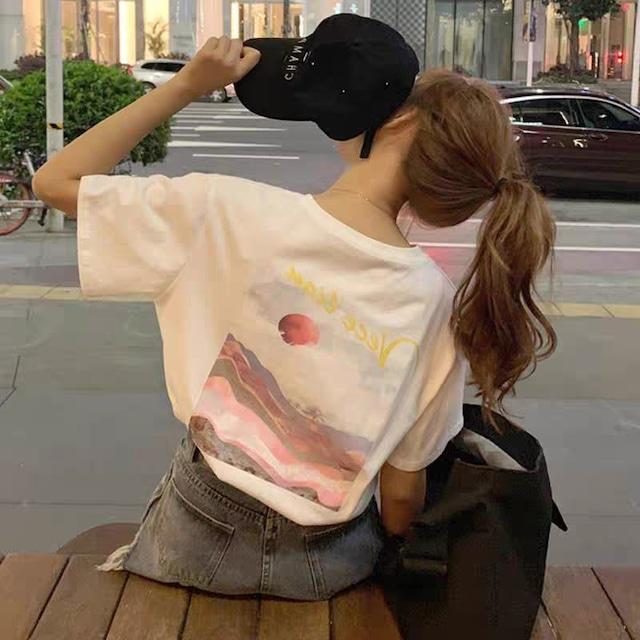 2021SS ルーズなビーチプリントTシャツ S1731