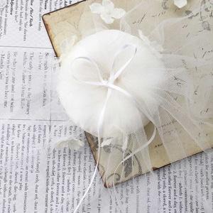 小花とチュールのリングピロー手作りキット(イタリア製サテン使用)