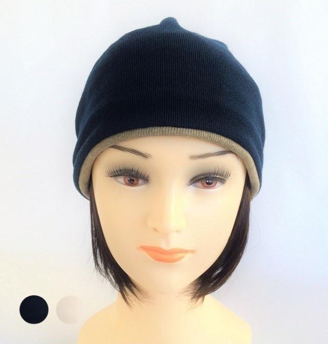 つけ毛付き:wig/レイヤーボブ/ニット帽子 Sサイズ /50~55cm(裏シルク)