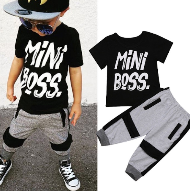 【子供服】男の子 上下 ベビー キッズ セットアップ 韓国 ボトムス ズボン パンツ 黒Tシャツ  80  90  100  110  120