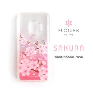 桜 グリッターケース[iPhone12・Galaxy S9/10/10+]*木のぼり猫とメジロ*