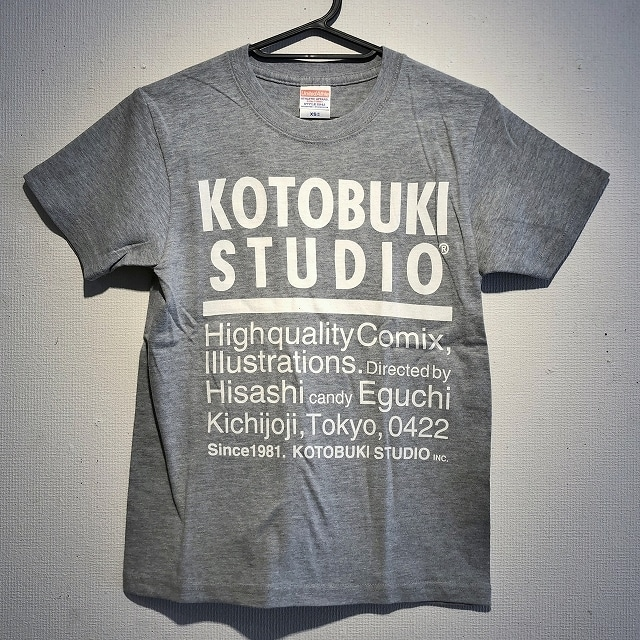 江口寿史 「KOTOBUKI STUDIO」Tシャツ(ミックスグレー×白字)クリアファイル付き( ※色は選べません)