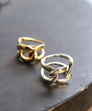 YR180327KHR9【YArKA/ヤーカ】silver925 flat link chain motif ring[chiki]/シルバー925喜平チェーンモチーフリング
