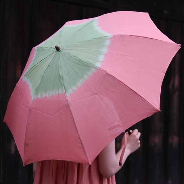 小宮商店×きぬのいえ おりたたみ日傘【桃×萌黄】