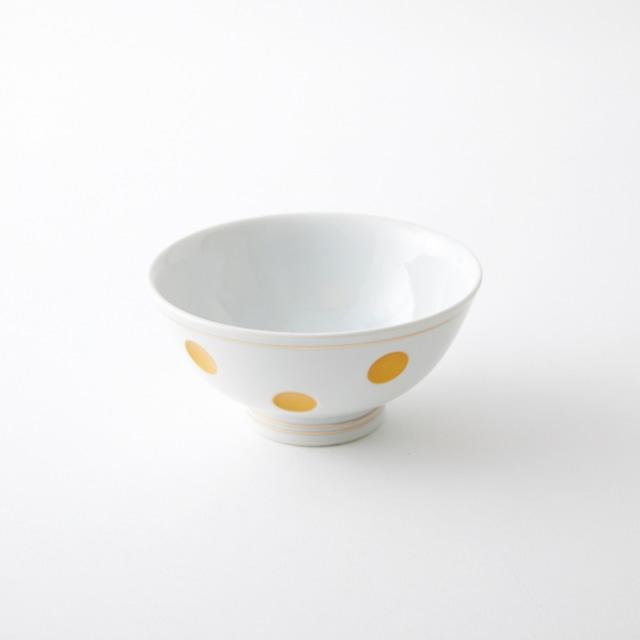 金ライン彫水玉 飯碗