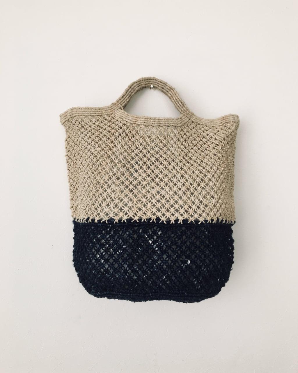 Jute macrame shopping bag Nat/Indigo ショッピングバッグ ナチュラル/インディゴ