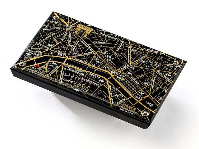 Paris回路地図 名刺入れ 黒 【名入れ無料サービス実施中】