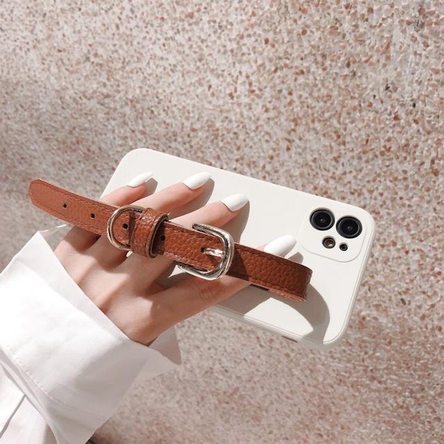 クリアホワイト×ブラウンレザーベルトiphoneケース 13機種タイプ